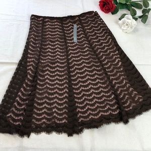 Brown Lace Over a Pink Lined Skirt 10 NWT